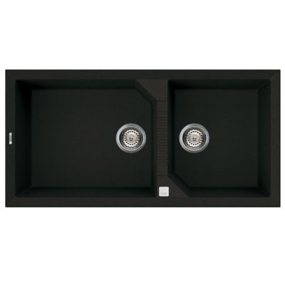 Rubine-MEQ860-100-Granite-Sink-Pearl-Black