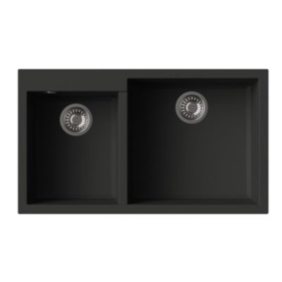 Rubine-MEQ860-86R-Granite-Sink-Pearl-Black
