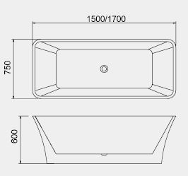 BT  Free Standing Bathtub dimensions