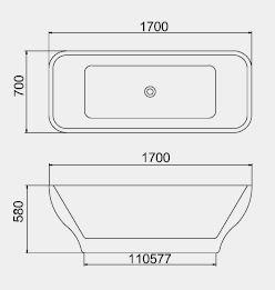 BT  Free Standing Bathtub dimensions