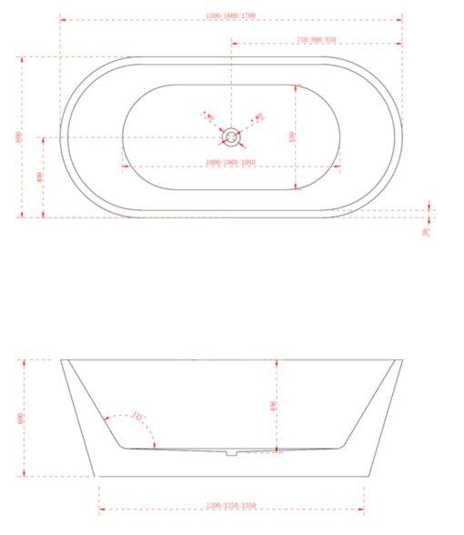 BT freestanding bathtub specs