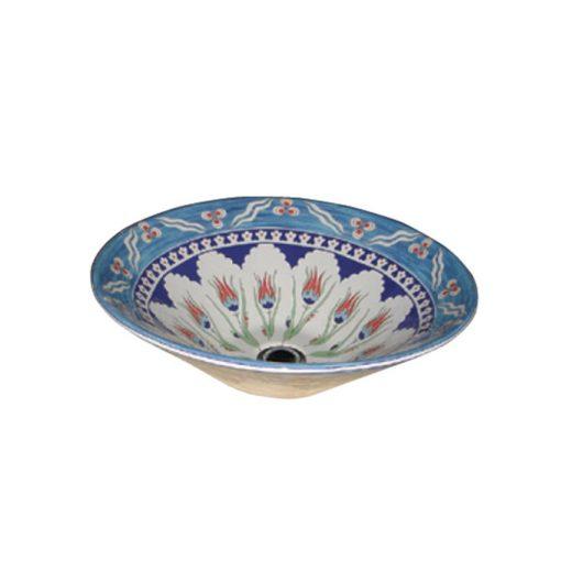 ECE Ottoman Blue Ceramic Basin