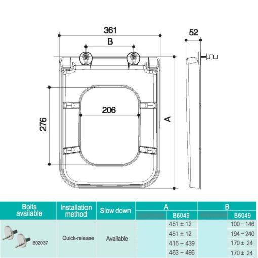 B UF Toilet Seat Cover Specs