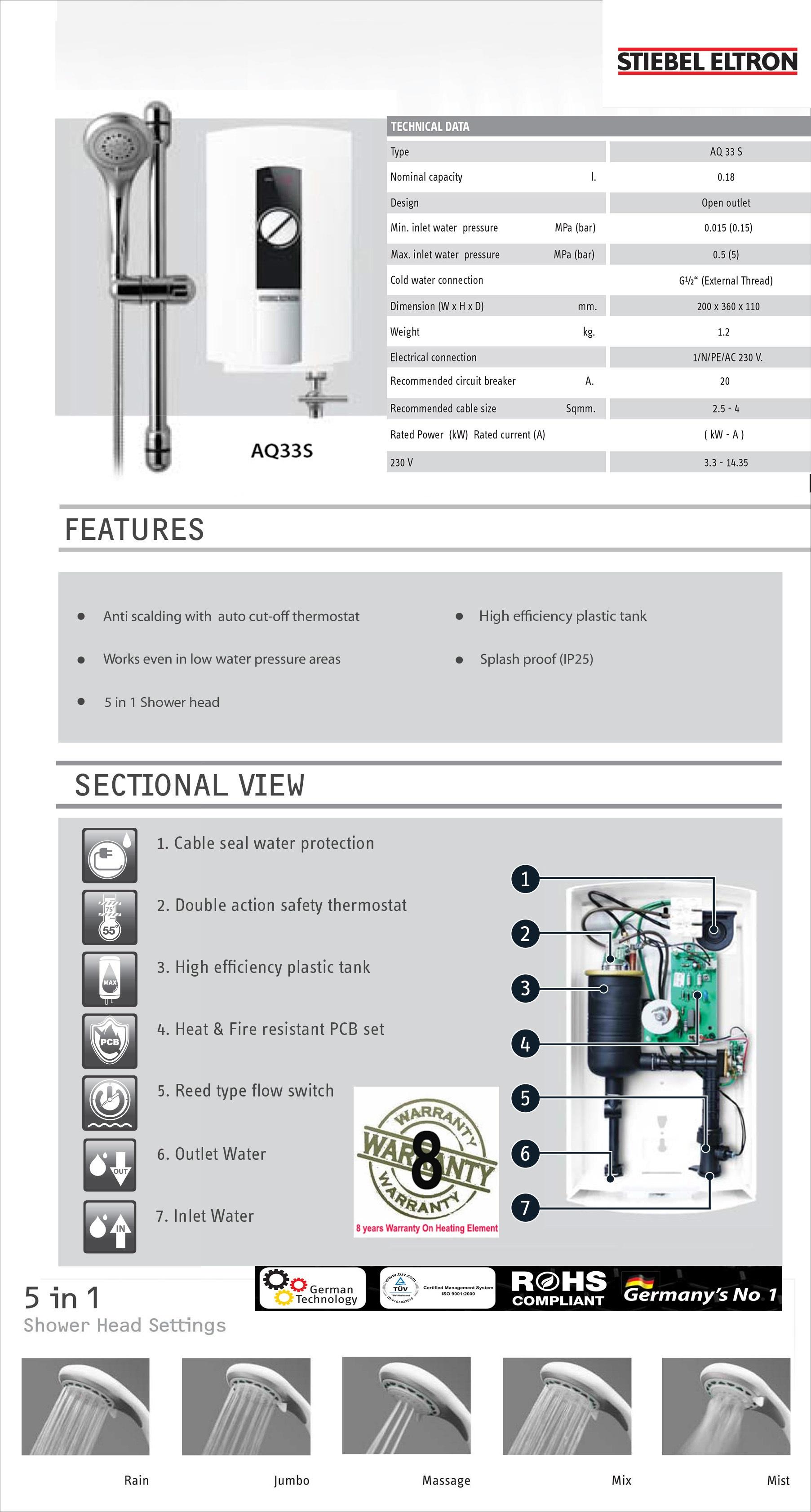 stiebel eltron aq33s instant water heater bacera. Black Bedroom Furniture Sets. Home Design Ideas