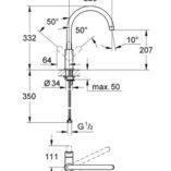 GH3123301 Bauedge sink mixer specs