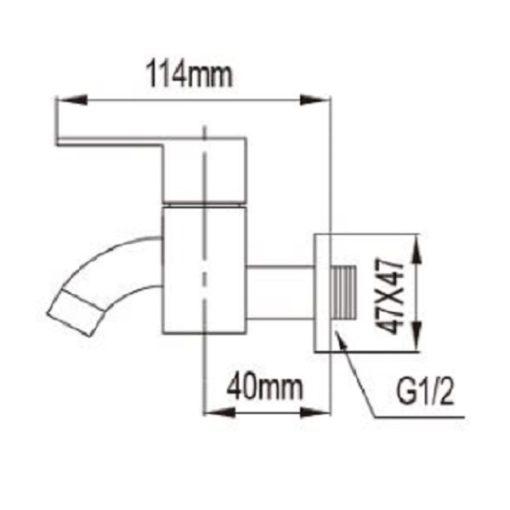 NTL  C Bib Tap dimensions