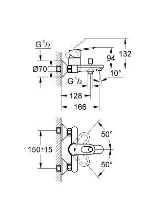 Grohe  BauLoop Bath Mixer Specs