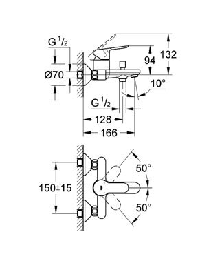 Grohe  Bauedge Bath Mixer Specs