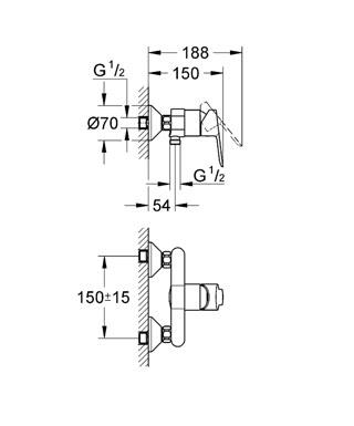 Grohe  Bauedge Shower Mixer Specs