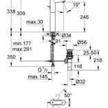 grohe-32860000-bauedge-tall-basin-mixer-specs