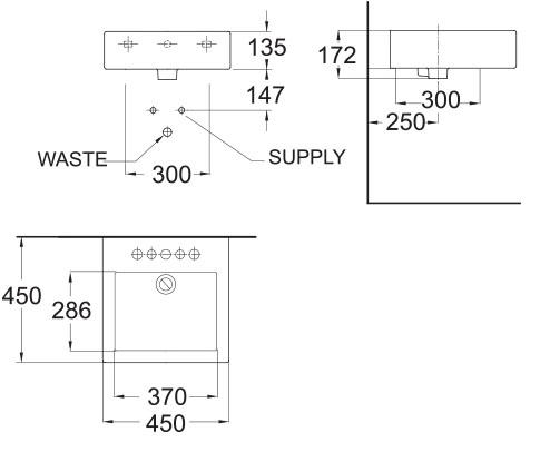 American Standard  Countertop Basin Specs