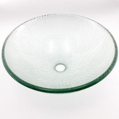 AB LX  Clear Carved Glass Basin