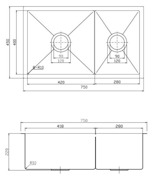 APL R  H Stainless Steel Kitchen Sink Dimensions