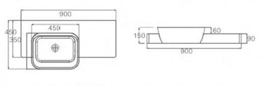 K Wall Hung Basin dimensions