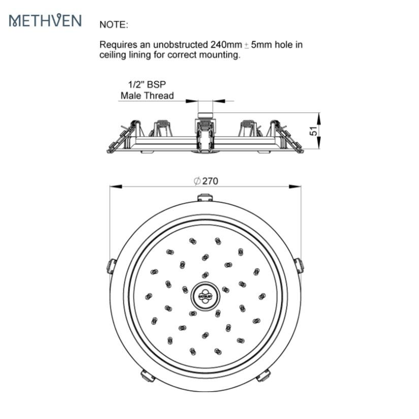 Methven-KI200FCP-flushmount-satinjet-overhead-drencher-specs