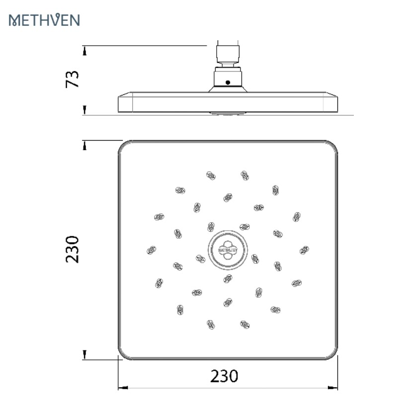 Methven-OSQ230CCP-Square-satinjet-shower-head-specs