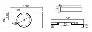 PW C Wall Hung Basin dimensions