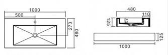PW Wall Hung Basin dimensions