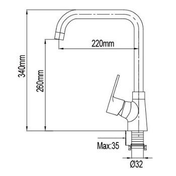 NTL  Sink Mixer dimensions