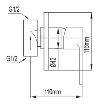 NTL  C In Wall Shower Mixer Cold dimensions