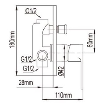NTL  Concealed Bath And Shower Mixer dimensions