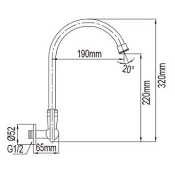 NTL  C Wall Sink Tap dimensions