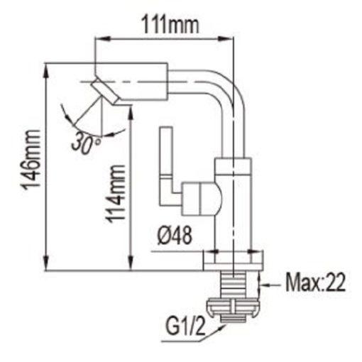 NTL  C Basin Tap dimensions