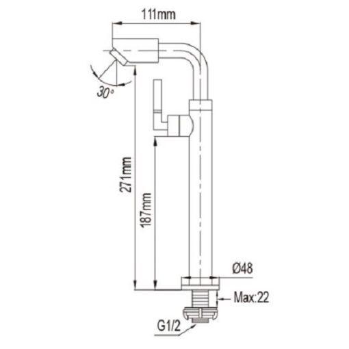 NTL  C Tall Basin Tap dimensions