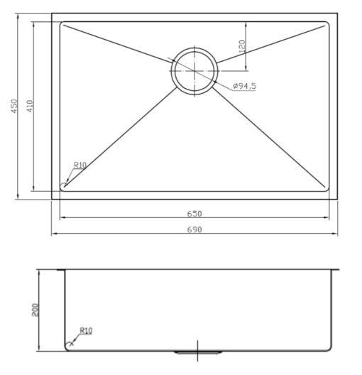 SB mm sink specs sheet