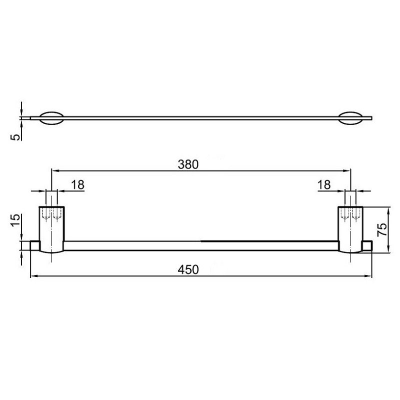 Ai500501 Towel Bar Dimensions Bacera