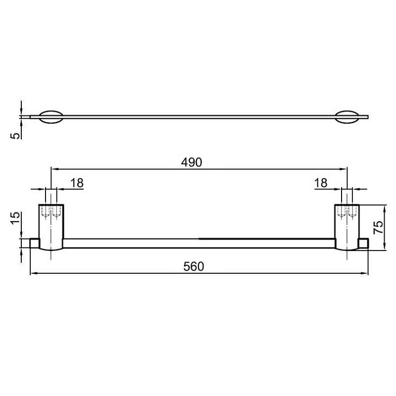 Towel Rack Standard Height: AI500601-Towel-Bar-dimensions