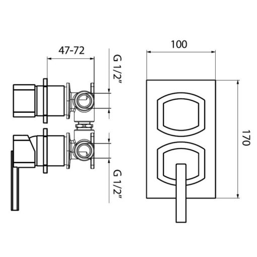AZ Bath and Shower Mixer dimensions
