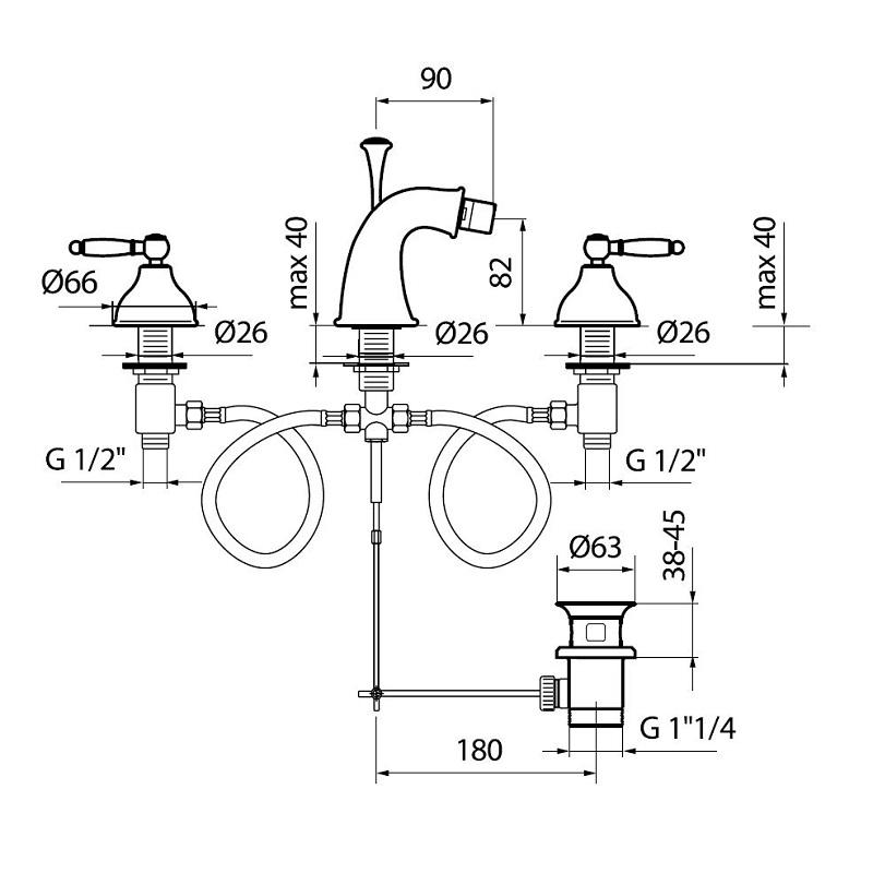 do710202 bidet mixer dimensions bacera. Black Bedroom Furniture Sets. Home Design Ideas