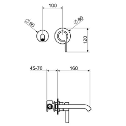 DR Concealed Basin Mixer dimensions