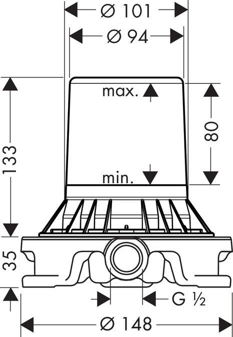 HG10452180-Universal-Concealed-Part-for-Hansgrohe-Floor-Standing-Mixers-Specs