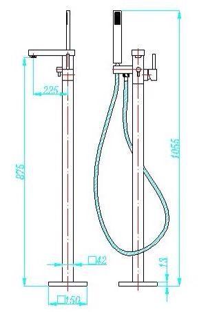 S811-free-standing-bathtub-mixer-Specs