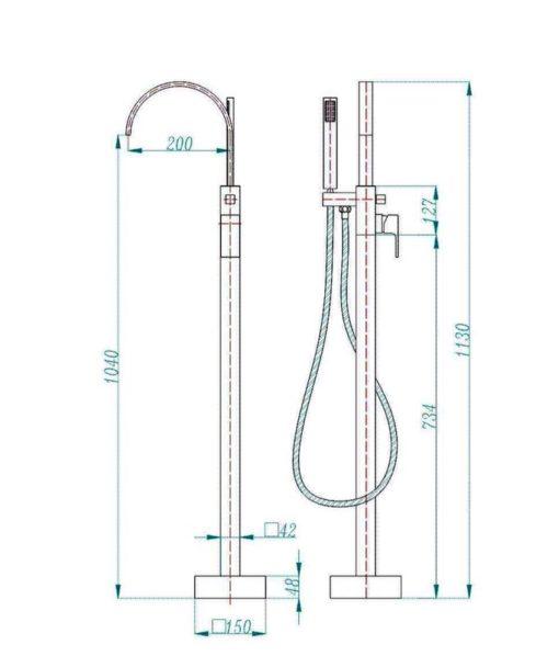 S812-free-standing-bathtub-mixer-specs