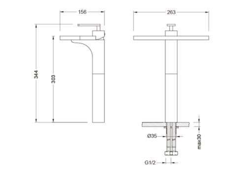 Pozzi YL Tall Basin Mixer Specs