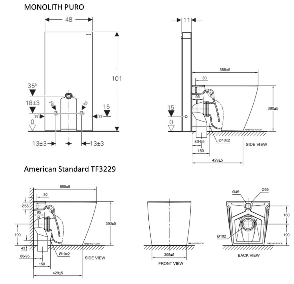 American Standard Tf3229 With Geberit Monolith Black Bacera