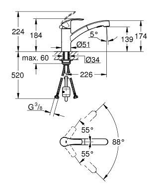 Grohe-30305000-Eurosmart-Kitchen-Sink-Mixer-Specs