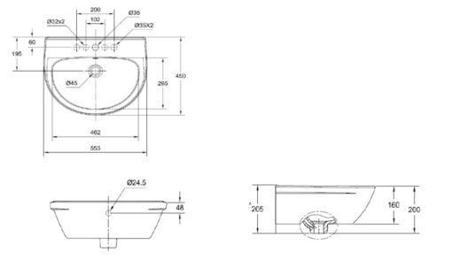 American Standard CL Neo Modern Wall Hung Basin Specs