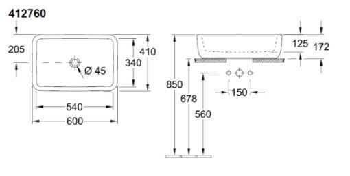 Villeroy and Boch  Over Counter Basin Specs