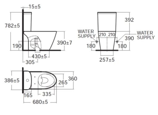 American Standard Compact Codie CL Close Coupled Water Closet Specs