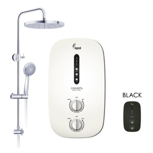 Champs Legend instant water heater with rain shower