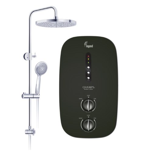 Champs Legend instant water heater with rain shower black
