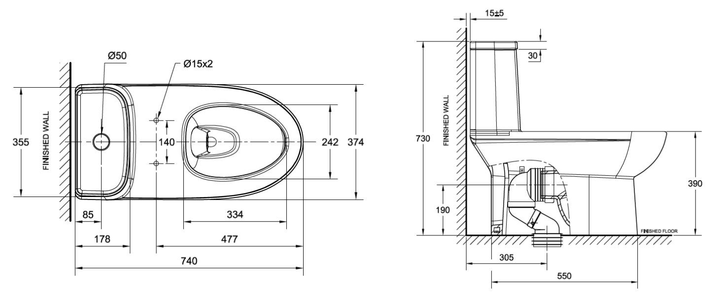 American Standard Neo Modern Cl25315 One Piece Toilet Bacera