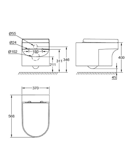 GROHE  Eurocosmo Wall Hung Toilet Specs