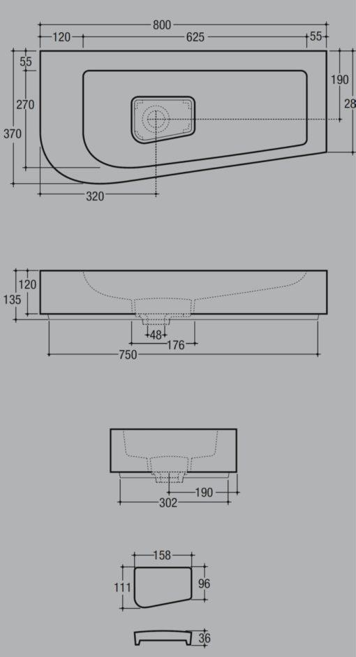 Vitruvit SWELAADX Overcounter Basin Specs