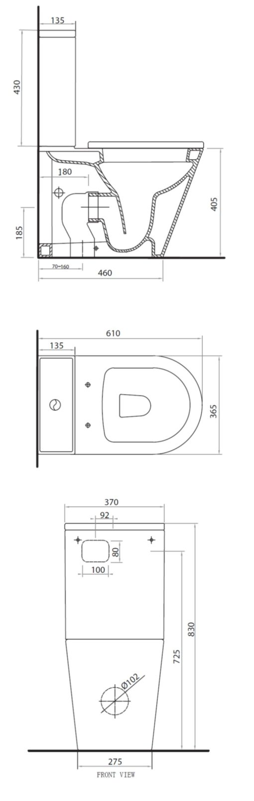 Parisi Linfa PN Close Coupled Toilet Specs