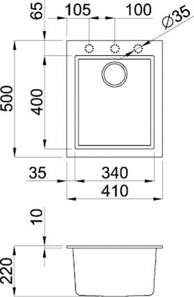Rubine MEQ  Inset Granite Sink Specs